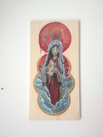 High Priestess / Acrylic On Wood / 24x12