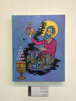 Altar 2: Conunxisset (Join) MCMXXXVII Sagita acrylic on wood panel, 16x20. 2015 (Michael Schwab, Memorial Day Massacre, May 30th, 1937). Available
