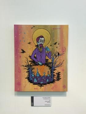 Altar 4: Aecus (To Be Fair) MCMlXVIII Sagittarious acrylic on wood panel, 16x20. 2015 (Oscar Neebe, Chicago Riots, April 5th, 1968). Available