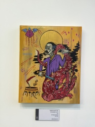 Altar 7: Constantia (Courage) MDCCCXCIV Libra Acrylic on wood panel, 16x20. 2015 (Albert Parsons, Pullman Strike, May 11th, 1894) In Exhibition At Pilsen Outpost.