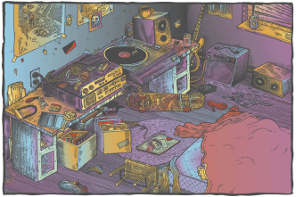 Bedroom / Digital Color On Line Drawing