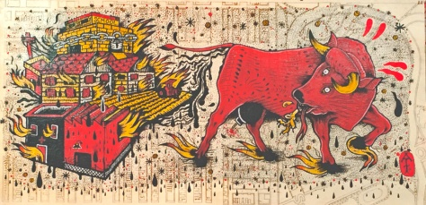 Blazing Pile Of Bullshit / Acrylic on Laser Etched Wood / 12x24 / Chicago 2014 / SOLD