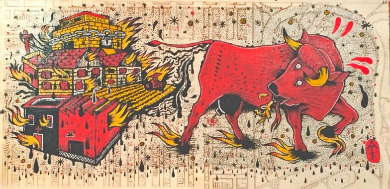 Blazing Pile Of Bullshit / Acrylic on Laser Etched Wood / 12x24