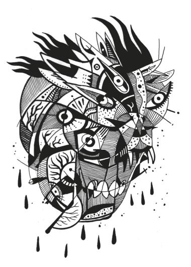 Deathmask / Original Drawing / 12x9
