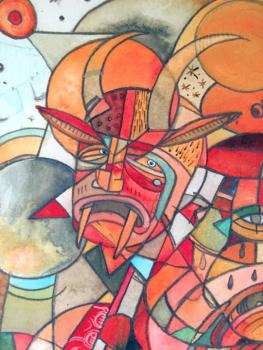Xantolo (Detail) / Acrylic on Hot Press Watercolor Paper / 16x12