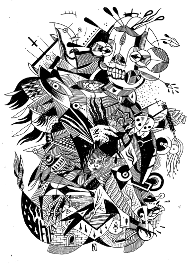 Guilt Forgets No One / Original Pigment Ink Drawing / 12x9