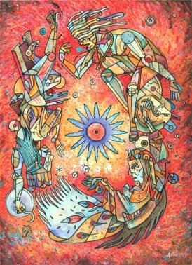 Hermanas De La Tristeza / Acrylic on Hot Press Watercolor Paper / 16x12
