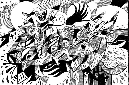 Jackals / Original Drawing / 9x12
