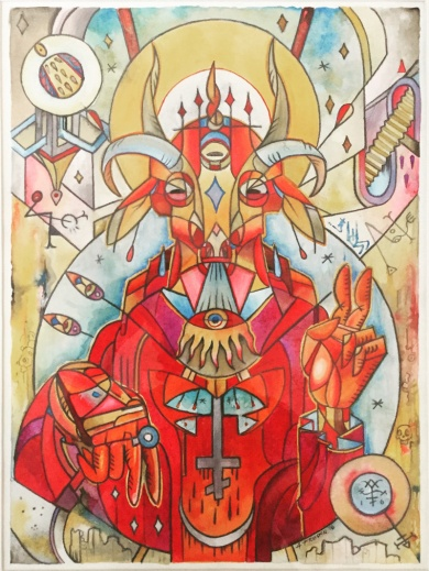 "Lucifer / Acrylic on Hot Press Watercolor Paper / 16x12 / Chicago 2016 / Featured in ""The Devils Reign II: Psychedelic Blasphemy"" by Peter H. Gilmore"