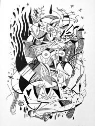 Wolf Blanket / Letter Press Print / 19x12.5